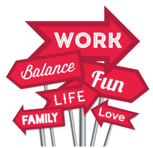 Flexible Working: work, balance, fun, life, family and love written on arrows pointing in different directions